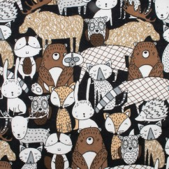 Abbey Printed Flannelette - Animals - Black