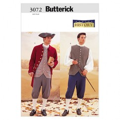 B3072 Historical Costume (Coat, Vest, Shirt, Pants and Hat) (size: 32-34-36)