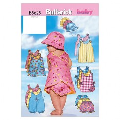 B5625 Infants' Romper, Jumper, Panties and Hat (Size: NB-S-M)