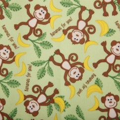 Babyville Boutique Waterproof PUL Fabric Monkey Green 165cm (64 inches)