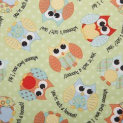 Babyville Boutique Waterproof PUL Fabric Owls Green 165cm (64 inches)
