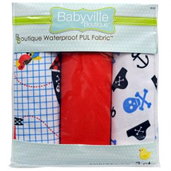 Babyville Waterproof PUL fabric in package - Pirates and Skulls