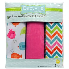 Babyville Waterproof PUL fabric in package - Birds and Chevron