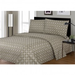 Rich Printed Soft & Wrinkle Free 3 Piece Sheet Set - Taupe