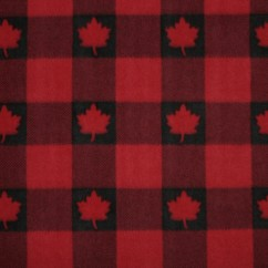 Canadiana Fleece Prints - Buffalo Plaid - Black on Red with Red Maple Leaf