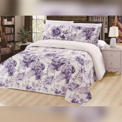 Bamboo Living - Floral 6 pcs. Sheet Set - Purple