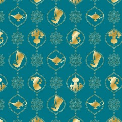 Camelot - PRIVILÈGE - Licensed Cotton Print - Aladdin lamp - Turquoise
