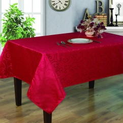 Jacquard Tablecloth - Scroll - Red