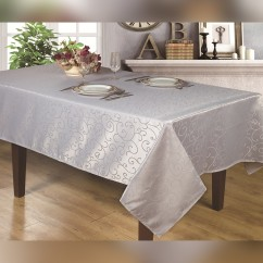 Jacquard Water repellent Tablecloth, Oblong - Silver