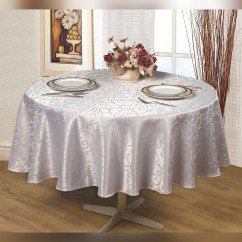 Jacquard Water repellent Tablecloth, Round - Silver