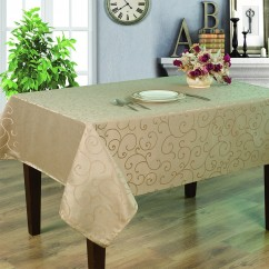Jacquard Tablecloth - Scroll - Taupe