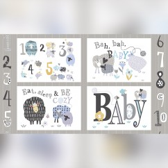 BAH BAH BABY Cotton Prints - Sheep panel - Grey