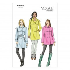 V8884 Misses' Coat and Belt - Misses (Size: A5 (6-8-10-12-14))