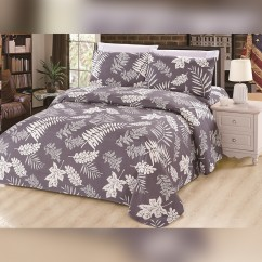 Bamboo Living - White Leaves 6 pcs. Sheet Set - Gray
