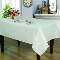 Jacquard Tablecloth - Scroll - White