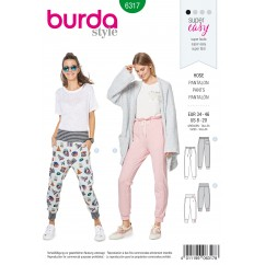 BURDA - 6317 Jogging Pants – Pull On Pants/Trousers with Leg Bands