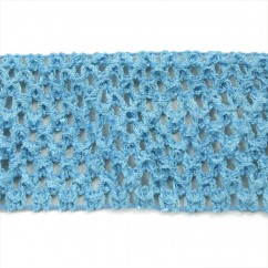 "CROCHET HEADBAND  ELASTIC 2,75"" LIGHT BLUE"