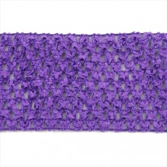 "CROCHET HEADBAND  ELASTIC 2,75"" PURPLE"