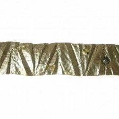 CREATIVE DECOR - 14mm Crumple Tape with Beads - Gold