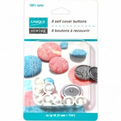 UNIQUE Self Cover Buttons - Nylon - size 18 / 11mm - 8 sets