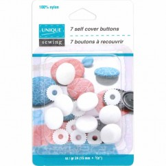 UNIQUE Self Cover Buttons - Nylon - size 24 / 15mm - 7 sets