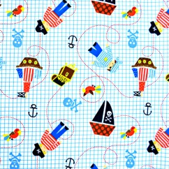 Babyville Boutique Waterproof PUL Fabric Pul Little Pirates 165cm (64 inches) wide