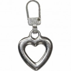 COSTUMAKERS Zipper Pull Heart - Nickel
