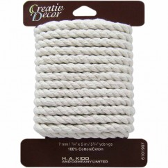 CREATIV DÉCOR Cable Cord 7mm x 5m - White
