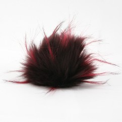 FAUX FUR POMPOM - 4 inch - Burgundy mix