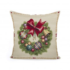 Decorative cushion cover - Tapestry - Christmas Wreath - 18 x 18''