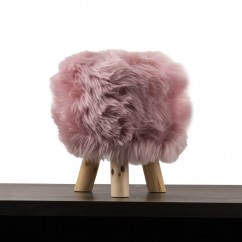 Fur Stool - Blush - 12 x 12 x 14''