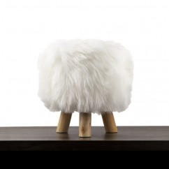 Fur Stool - White - 12 x 12 x 14''
