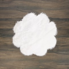 Fur Flower Rug - White - 35 x 35''
