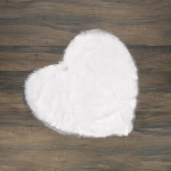 Fur Heart Rug - White - 35 x 35''