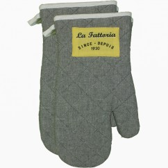 Oven Mitts - Grocery - Grey & yellow