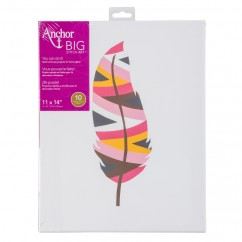 ANCHOR BIG STITCH ART - FEATHER - YELLOW / BROWN / PINK