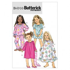 B4910 Children's/Girls' Top, Shorts, Pants and Gown (size: 2-3-4-5)