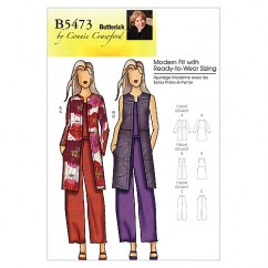 B5473 Misses'/Women's Jacket, Vest and Pants (size: XSM-SML-MED-LRG-XL)