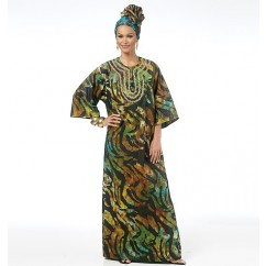 B5725 Misses'/Men's Tunic, Caftan, Pants, Hat and Head Wrap (size: SML-MED-LRG)