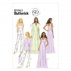 B5963 Misses' Robe, Top, Gown, Pants and Bag (size: 6-8-10-12-14)