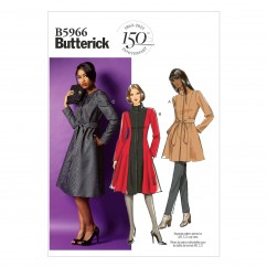 B5966 Misses'/Women's Jacket, Coat and Belt (size: 8-10-12-14-16)