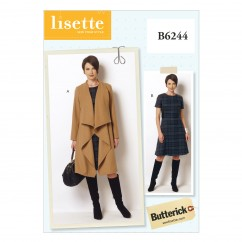 B6244 Misses'/Women's Coat and Dress (Size: 8-10-12-14-16)