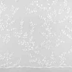 CHERIE Embroidered Mesh - Leaf - White