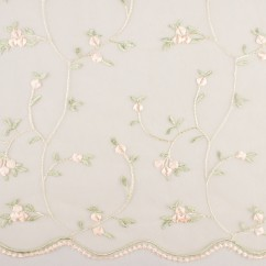 CHERIE Embroidered Mesh - Rose bud - Peach