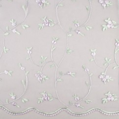 CHERIE Embroidered Mesh - Rose bud - Lilac