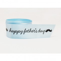 Single Face Satin Ribbon - Happy Father's Day - Pale Blue