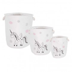 Set of 3 Unicorne Baskets - White