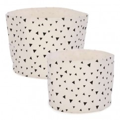 Set of 2 Baskets Triangle Motif - White