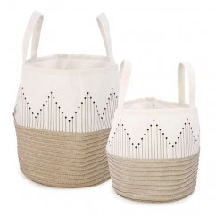 Set of 2 Baskets Natural - Beige