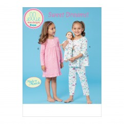 "K0250 Girls' Top, Dress, Pants and 18"" Doll Clothes (size: XXS-XS-S-M-L)"